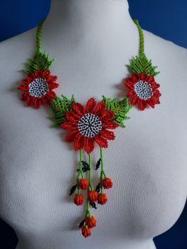 Shorter Length Beaded Necklace - Red & Orange