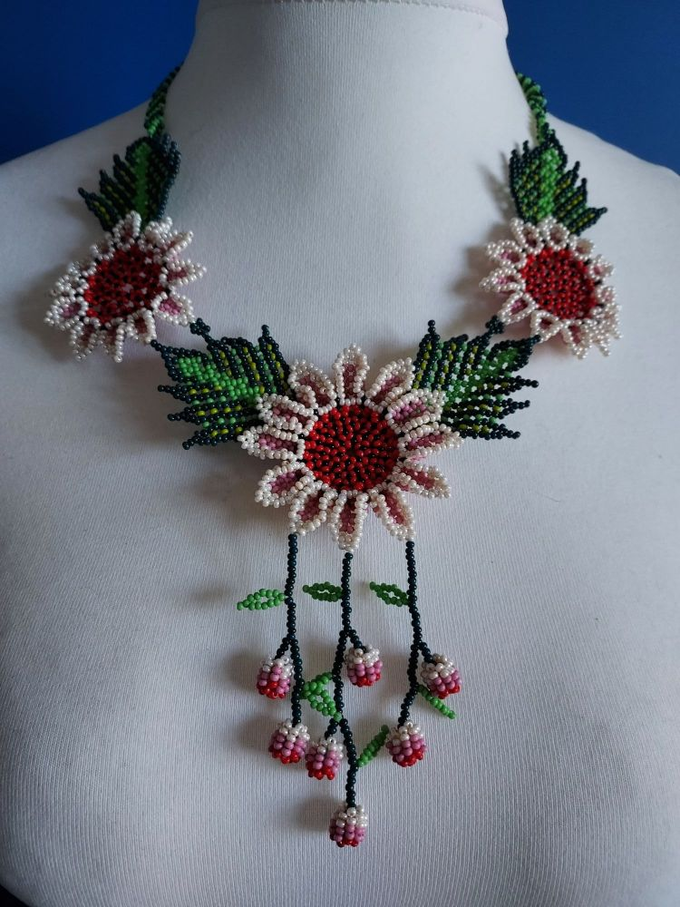 Shorter Length Beaded Necklace - Red & Pearl