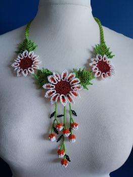Shorter Length Beaded Necklace - White 1