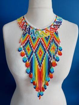 White Rainbow Aztec Drop Collar Necklace