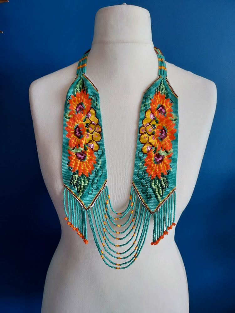 Turquoise and Orange Flower Panel Necklace