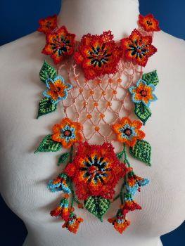Victoriana Flower Ornate Necklace - Pink