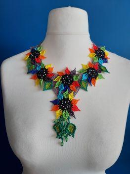 6 Flower Purple Rainbow Necklace