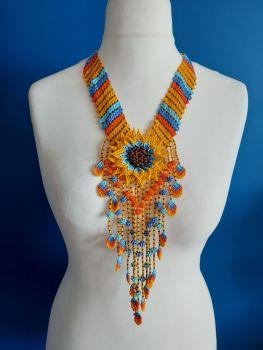Stripe V Flower Drop Necklace - Yellow