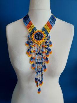 Stripe V Flower Drop Necklace - Blue