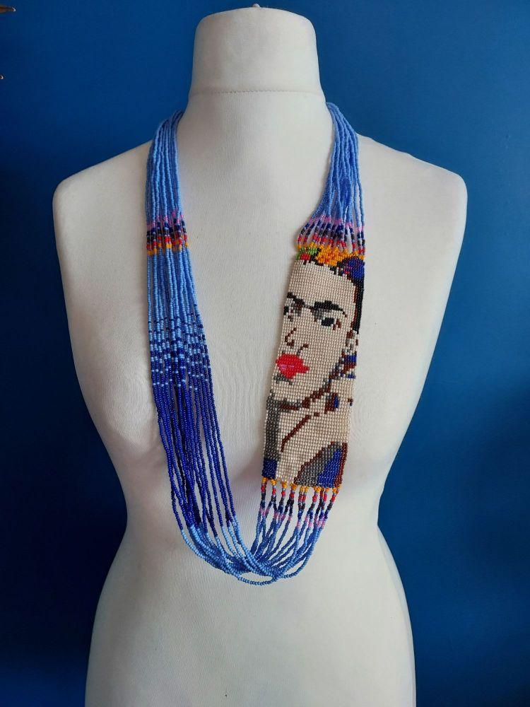 Frida Beaded Necklace - Blue