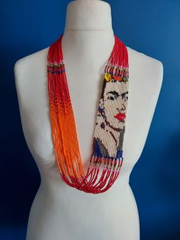 Frida Beaded Necklace - Red