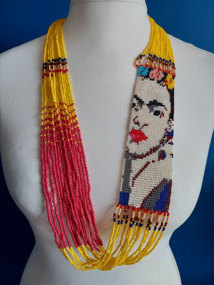 Frida Beaded Necklace - Yellow