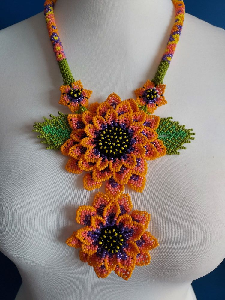 Beaded Rope Flower Necklace - Double Sunflower