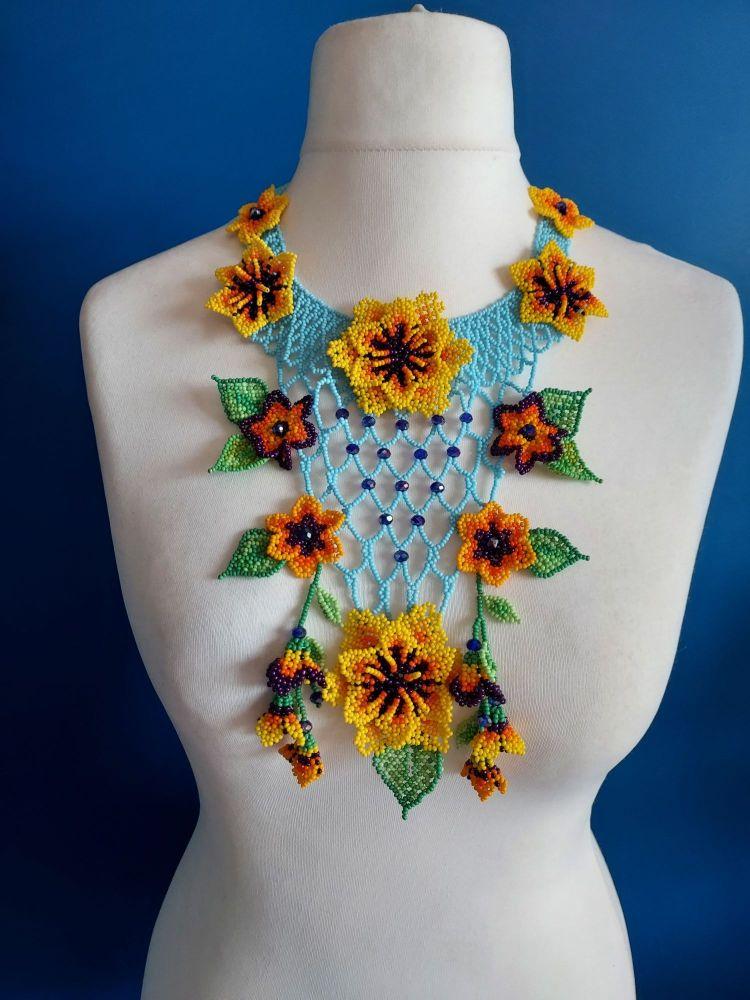 Victoriana Flower Ornate Necklace - Blue