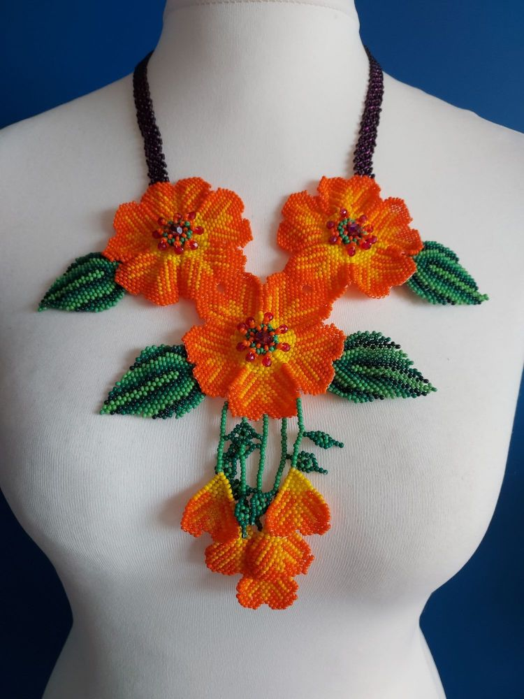 3 Joined Flower Necklace - Orange