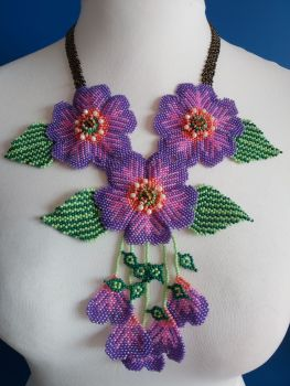 3 Joined Flower Necklace - Purple