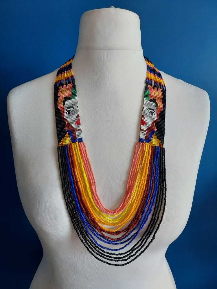 Frida Beaded Necklace - Double Face