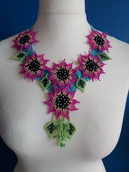 6 Flower Summer Necklace - Blue & Cerise Pink