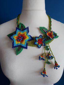 Off Centre Flower Necklace - Blue 1