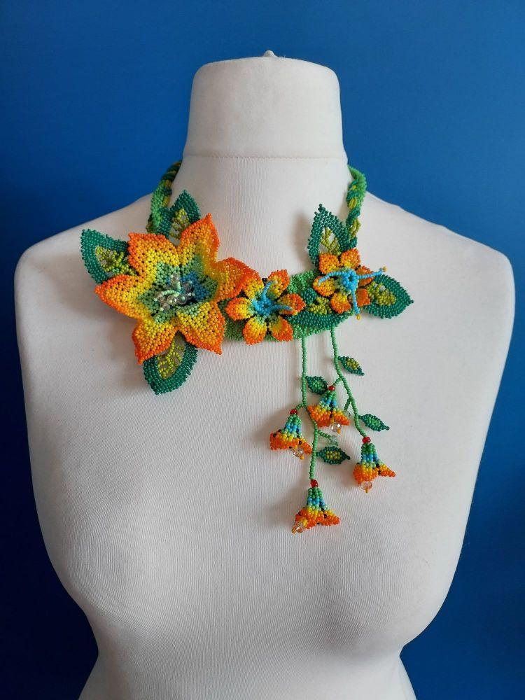 Off Centre Flower Necklace - Orange 2