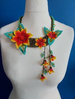 Off Centre Flower Necklace - Orange 3