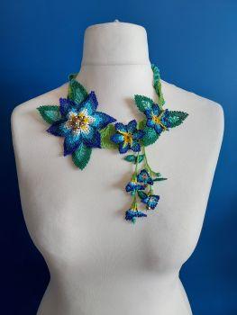 Off Centre Flower Necklace - Blue 4