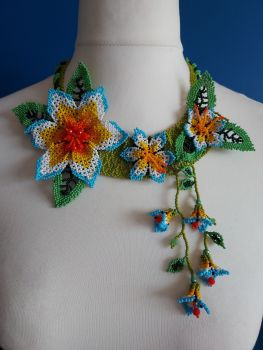 Off Centre Flower Necklace - White and Blue