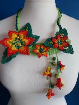 Off Centre Flower Necklace - Orange 5
