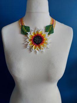 Statement Sunflower Beaded Collar Necklace - White