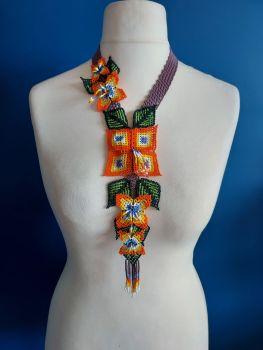 Long Huichol Square Flower Necklace - Purple
