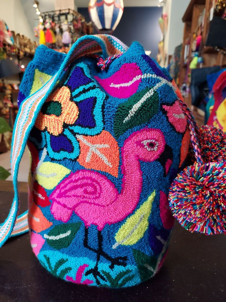 Colombian Wayuu Mochila Bag - Dark Teal Flamingo