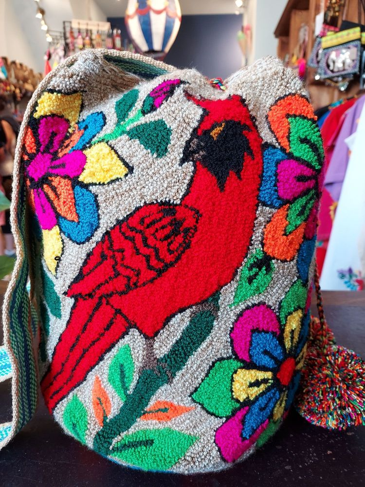 Colombian Wayuu Mochila Bag - Beige Flowers and Cardinal Bird