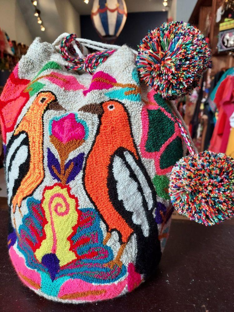 Colombian Wayuu Mochila Bag - Two Orange Birds