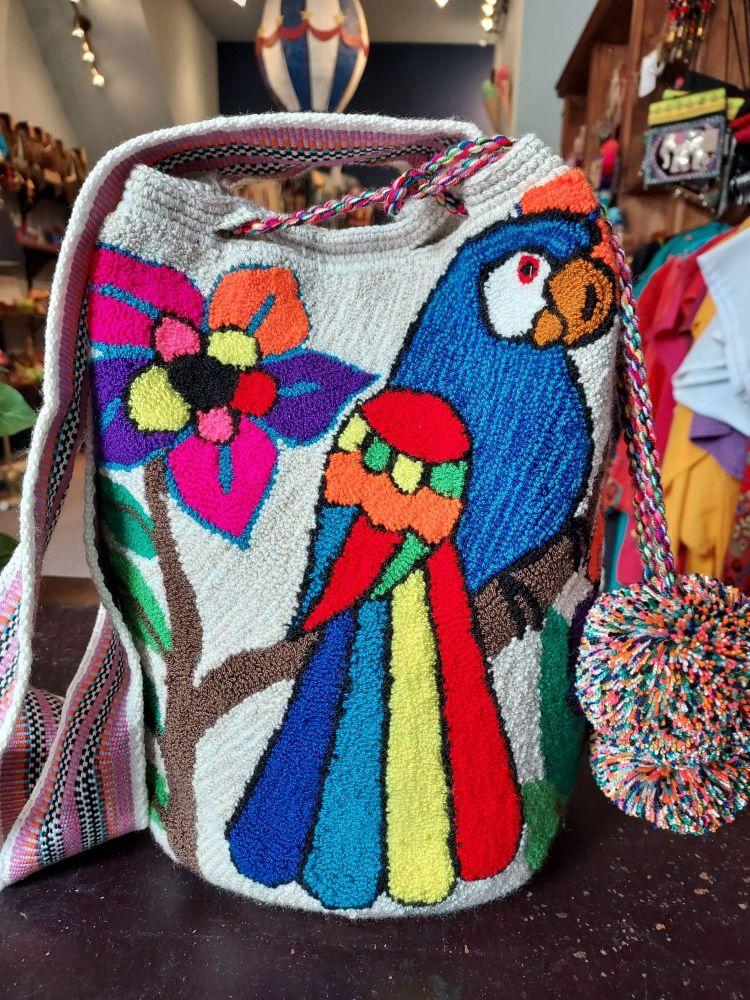 Colombian Wayuu Mochila Bag - Beige with Blue Parrot