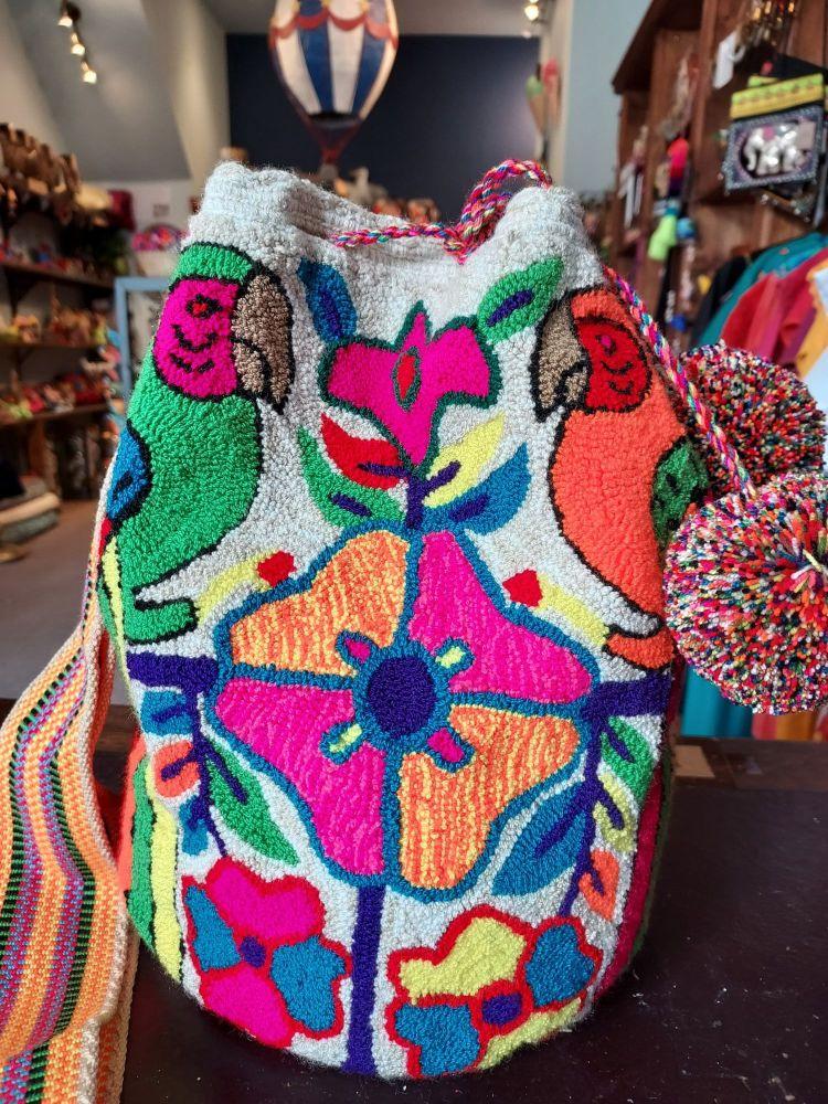 Colombian Wayuu Mochila Bag - Two Neon Parrots