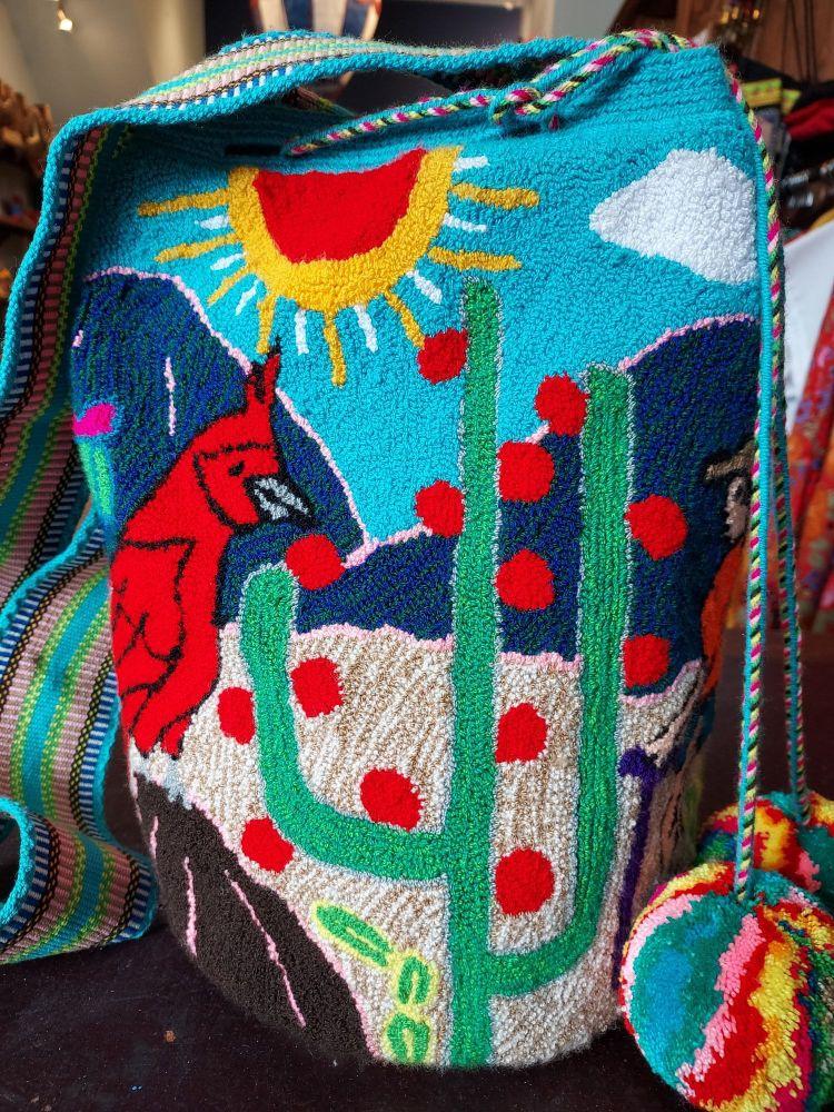 Colombian Wayuu Mochila Bag - Cardinal and Cactus
