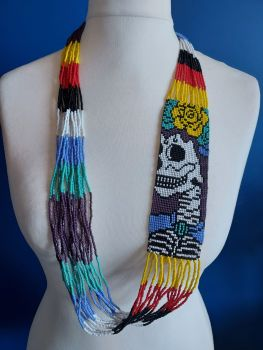 Day of the Dead Skull Beaded Necklace - 2