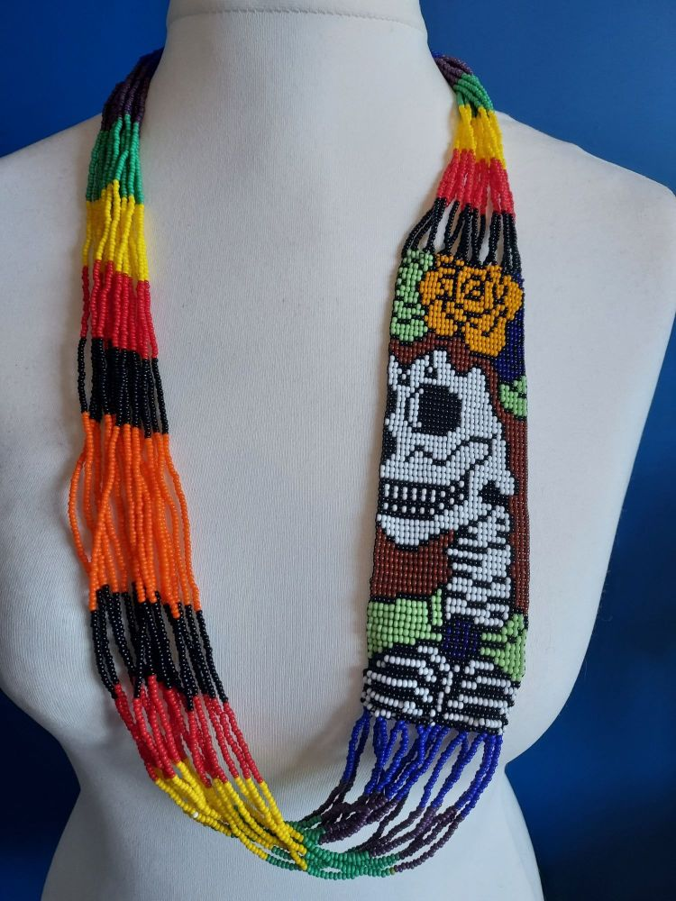 Day of the Dead Skull Beaded Necklace - 4