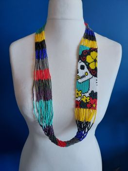 Day of the Dead Skull Beaded Necklace - 5