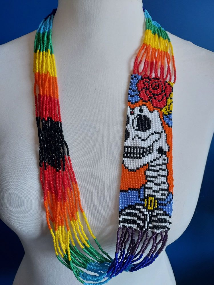 Day of the Dead Skull Beaded Necklace - 3
