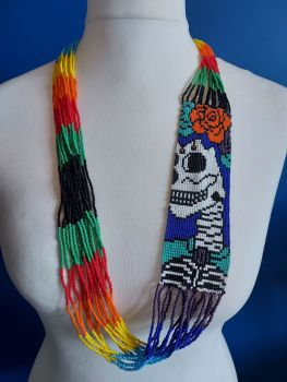 Day of the Dead Skull Beaded Necklace - 1