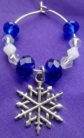 Deep Blue, White and Clear Crystal Wine Glass Charms