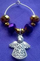 6 Purple and Gold Matching Wine Glass Charms with Angel Charm