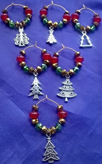 Set of 6 Mixed Christmas Tree Wine Glass Charms with Traditional Christmas