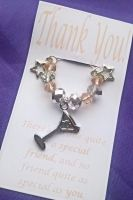 Thank you Gift Wine Glass Charm with Cocktail Charm