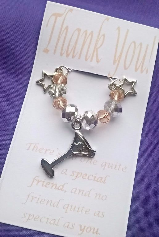 Thank you friend Wine Glass Charm with stars and cocktail charm and gift ca