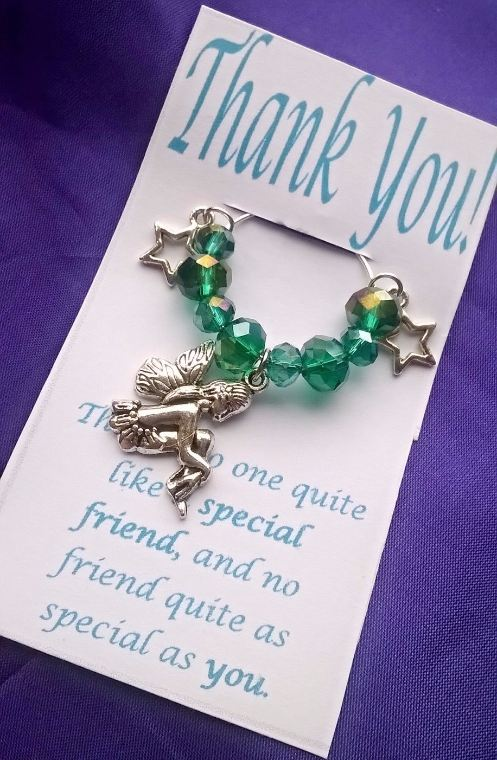 Thank You Friend Wine Glass Charm with stars and fairy charms