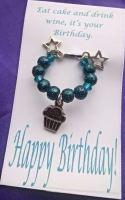 Birthday Wine Glass Charm with stars and cupcake charms