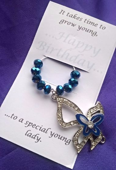 Birthday Wine Glass Charm with Sparkly Blue butterfly Charm