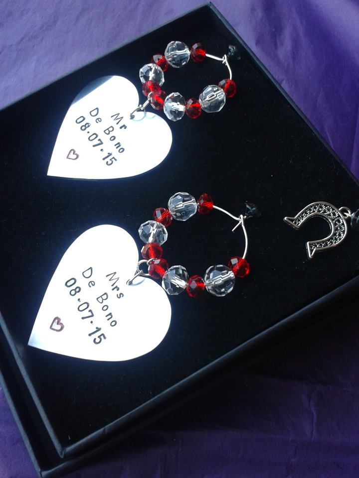 Wedding Gift Wine Glass Charms - Gift Boxed