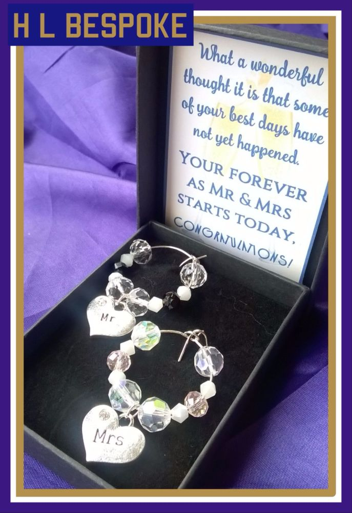 Pair of Mr & Mrs Wine Glass Charms  / Coffee Glass Charms