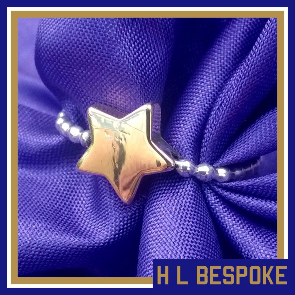 Personalised Mixed Metal Sterling Silver Ring With Brass Star