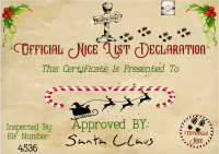 Personalised Nice List Certificate - North Pole Certificate - Santa's Certificate - Christmas Letter - Christmas Eve Box Certificate - FREE POSTAGE