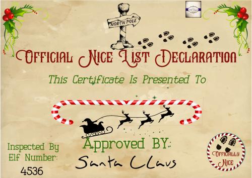 Personalised Nice List Certificate - North Pole Certificate - Santa's Certi